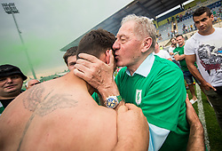 Milan Mandaric kissing Rok Kronaveter of NK Olimpija after they became Slovenian National Champion 2018 after the football match between NK Domzale and NK Olimpija Ljubljana in 36th Round of Prva liga Telekom Slovenije 2017/18, on May 27, 2018 in Sports park Domzale, Domzale, Slovenia. Photo by Vid Ponikvar / Sportida
