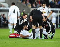 Swansea City's Ashley Williams receives treatment for an injury  - Photo mandatory by-line: Joe Meredith/JMP - Mobile: 07966 386802 - 09/11/2014 - SPORT - Football - Swanswa - Liberty Stadium - Swansea City v Arsenal - Barclays Premier League