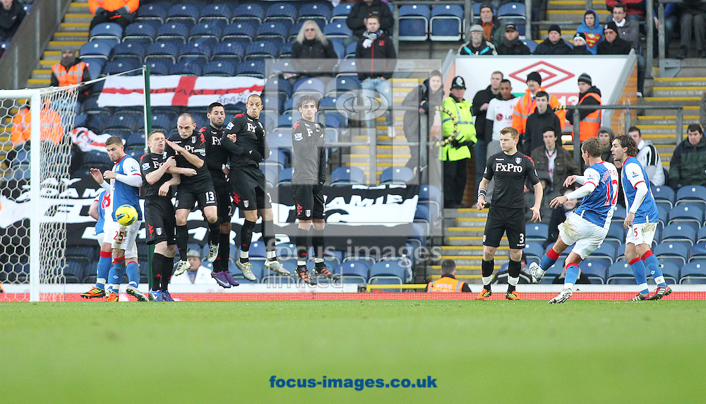 Picture by MIchael Sedgwick/Focus Images Ltd. 07900 363072.14/01/12.Morten Gamst Pedersen of Blackburn scores the first goal against Fulham during the Barclays Premier League match at the Ewood Park stadium, Blackburn, Lancashire.