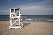 A lifeguard stand sits before the Atlantic Ocean, Nauset Beach, Cape Cod National Seashore, Orleans, Massachusetts.