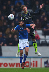 Joe Partington of Bristol Rovers beats Bradden Inman of Rochdale in the air - Mandatory by-line: Robbie Stephenson/JMP - 21/10/2017 - FOOTBALL - Crown Oil Arena - Rochdale, England - Rochdale v Bristol Rovers - Sky Bet League One