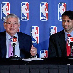 April 16, 2012; New Orleans, LA, USA; NBA commissioner David Stern and Louisiana governor Bobby Jindal at press conference announcing ownership to Tom Benson and the awarding of the 2014 All Star game to the city of New Orleans at the New Orleans Arena.   Mandatory Credit: Derick E. Hingle-US PRESSWIRE
