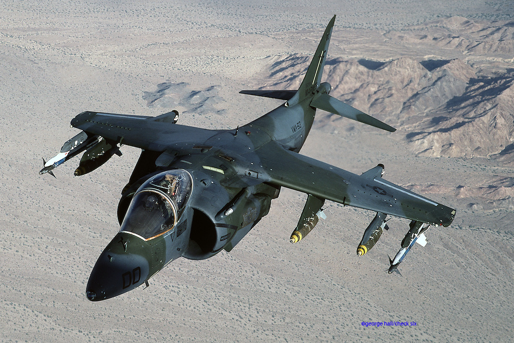 AV-8B Harrier II with 500-lb bombs