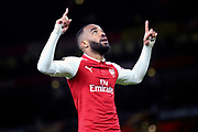 Arsenal striker Alexandre Lacazette (9) celebrating after scoring goal to make it 1-0 during the Europa League semi final first leg match between Arsenal and Atletico Madrid at the Emirates Stadium, London, England on 26 April 2018. Picture by Matthew Redman.