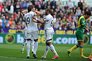 Swansea city's Michu (l) has words with his capt Ashley Williams, .Barclays premier league match , Swansea city v Norwich city at the Liberty stadium in Swansea, South Wales on Saturday 29th March 2014.<br /> pic by Andrew Orchard,  Andrew Orchard sports photography.