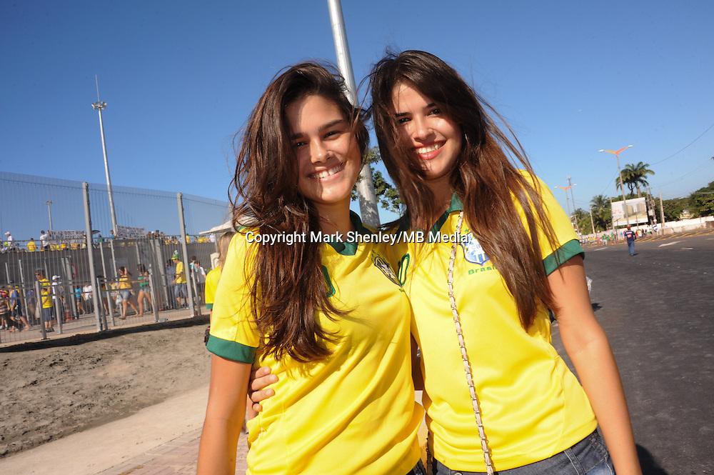 Local Brazilian female fans outside the stadium. Brazil v Mexico. FIFA Confederations Cup, Group match, Castelão Stadium, Fortaleza, Brazil 19th June 2013.