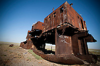 An abandoned ship remains on the bottom of dried Aral Sea near Zhalanash, Kazakhstan. The aral Sea was one of the four largest lakes in the world with an area of 68,000 square kilometres.
