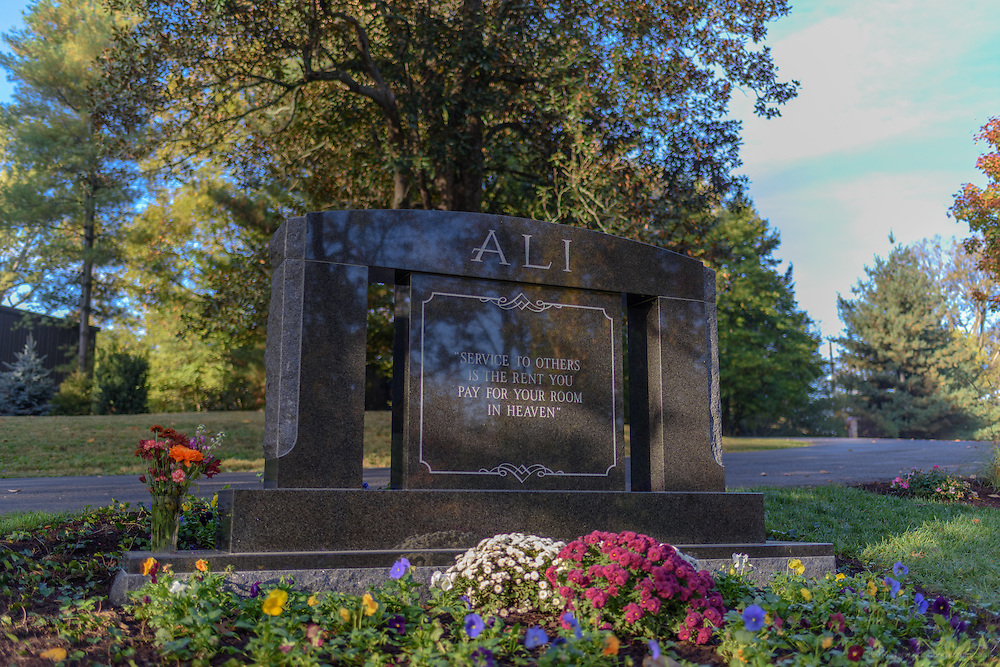 The Ali plot, the gravesite of boxing champion and humanitarian Muhammad Ali with space for the future burial of 12 more family members, photographed Sunday, Nov. 6, 2016 at Cave Hill Cemetery in Louisville, Ky. (Photo by Brian Bohannon)