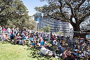 Crowds gather around Sydney Harbour during the International Fleet Review, Sydney, Australia. 5th Oct 2013