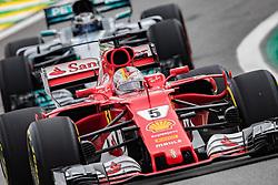 November 11, 2017 - Sao Paulo, Brazil - German driver SEBASTIAN VETTEL, of Scuderia Ferrari, drives during the qualifying for the Formula One Grand Prix of Brazil at Interlagos circuit. Vettel qualified 2nd. (Credit Image: © Paulo Lopes via ZUMA Wire)
