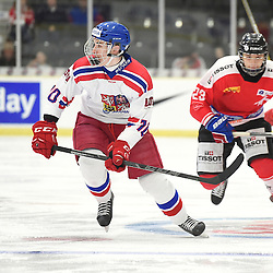 COBOURG, - Dec 18, 2015 -  WJAC Game 11- Team Czech Republic vs Team Switzerland at the 2015 World Junior A Challenge at the Cobourg Community Centre, ON. Ondrej Najman #10 of Team Czech Republic skates with the puck during the first period.<br /> (Photo: Andy Corneau / OJHL Images)