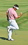 Trevor Immelman British Open Champion sinks birdie putt on 18th hole of 2008 Stanford St. Jude Golf tournament to tie Justin Leonard to go into a playoff.