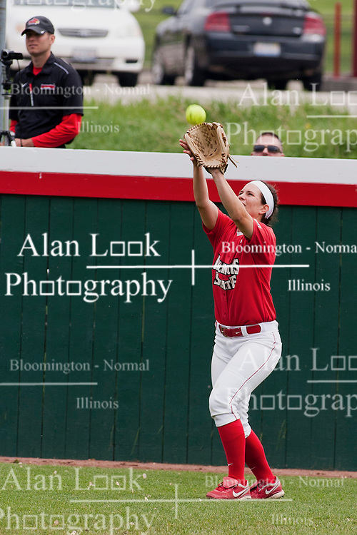 15 April 2012:   during an NCAA women's softball game between the Drake Bulldogs and the Illinois State Redbirds on Marian Kneer Field in Normal IL