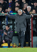 Football - 2017 / 2018 Premier League - Crystal Palace vs. Manchester United<br /> <br /> Jose Mourinho, Manager of Manchester United, gets mad at his team at Selhurst Park.<br /> <br /> COLORSPORT/DANIEL BEARHAM