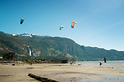 Kite boarders Newport beach at an extra low tide.  Saturday, May 27, 2017.  Photo by David Buzzard/For The Squamish Chief.