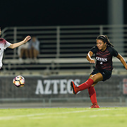17 August 2018: The San Diego State women's soccer team opens up it's season against New Mexico State. The Aztecs beat the Aggies 1-0 Friday night at the SDSU sports deck.