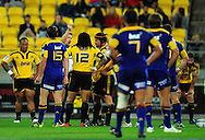 Referee Stuart Dickinson gives Ma'a Nonu a second yellow card. Super 15 rugby match - Hurricanes v Highlanders at Westpac Stadium, Wellington, New Zealand on Friday, 18 February 2011. Photo: Dave Lintott/PHOTOSPORT