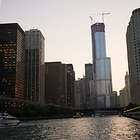 Chicago river and skyline at sunset, Illinois, USA