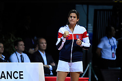 French Fed Cup captain Amelie Mauresmo during the fourth match at the semi final round tie at the Arena Loire, Trelaze, France on April 17, 2016. Photo by Corinne Dubreuil/ABACAPRESS.COM