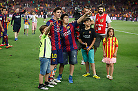 Barcelona´s Leo Messi celebrates after winning the 2014-15 Copa del Rey final match against Athletic de Bilbao at Camp Nou stadium in Barcelona, Spain. May 30, 2015. (ALTERPHOTOS/Victor Blanco)