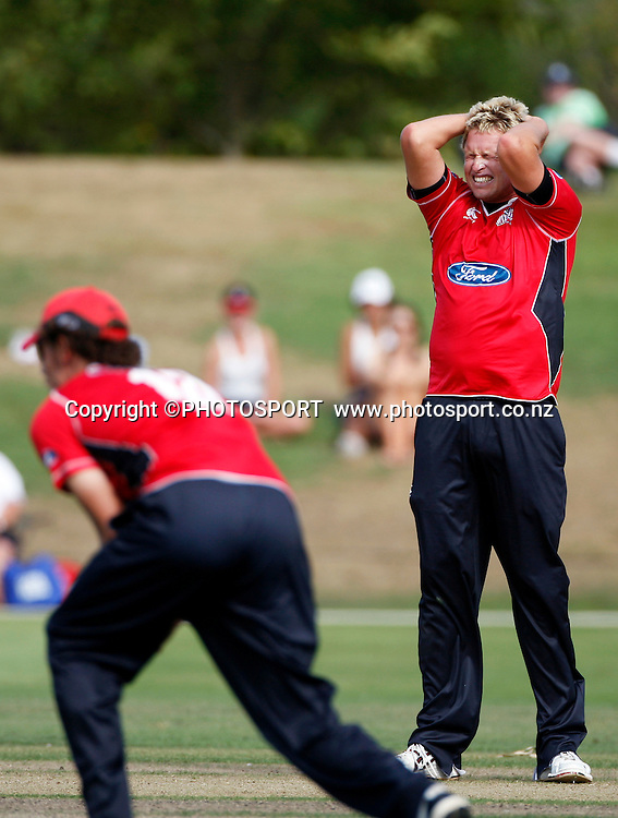 Canterbury's Mitchell Claydon has an appeal for an LBW turned down. Canterbury Wizards v Auckland Aces in the One Day Competition, Preliminary Semi Final. QEII Park, Christchurch, New Zealand. Sunday, 06 February 2011. Joseph Johnson / PHOTOSPORT.