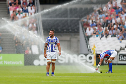 Samoa Flanker Jack Lam looks on as the sprinklers are accidentaly set off during the match - Mandatory byline: Rogan Thomson/JMP - 07966 386802 - 29/08/2015 - RUGBY UNION - The Stadium at Queen Elizabeth Olympic Park - London, England - Barbarians v Samoa - International Friendly.