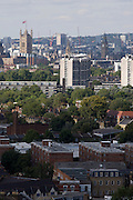 Aerial view of south London looking from Camberwell towards Westminster and the Houses of Parliament and Big Ben.