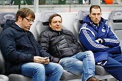 14.03.2015, Olympiastadion, Berlin, GER, 1. FBL, Hertha BSC vs Schalke 04, 25. Runde, im Bild Schalke-Manager Horst Heldt (mi.) vor der Partie,  // SPO during the German Bundesliga 25th round match between Hertha BSC and Hertha BSC vs Schalke 04 at the Olympiastadion in Berlin, Germany on 2015/03/14. EXPA Pictures © 2015, PhotoCredit: EXPA/ Eibner-Pressefoto/ Hundt<br /> <br /> *****ATTENTION - OUT of GER*****
