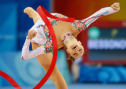 Ukraine's Anna Bessonova performs with the ribbon during the individual all-around qualifications for rhythmic gymnastics during the Olympic games in Beijing, China, 22 August 2008.