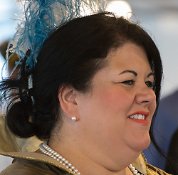 London, July 17th 2017. London Historians and Georgian Dining Academy celebrate the 300th anniversary of George Frederic Handel's masterpiece, The Water Music on the pleasure boat Golden Jubilee on the River Thames in London. PICTURED: Mayor of London's 'Night Tzar' Amy Lamé.