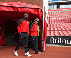 STOKE-ON-TRENT, ENGLAND - Sunday, August 9, 2015: Liverpool's Mamadou Sakho and Lazar Markovic before the Premier League match against Stoke City at the Britannia Stadium. (Pic by David Rawcliffe/Propaganda)
