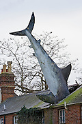 Unusual Strange Great White shark figure whacky art plunged through roof of house in suburban street, Oxfordshire, UK