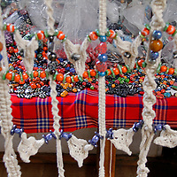 Africa, Kenya, Nairobi. Bead Display at Kazuri bead making factory in Karen district of Nairobi.