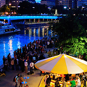 Riverside bar and outdoor cafe on the Danube, Vienna, Austria