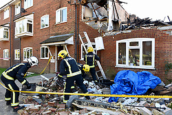 © Licensed to London News Pictures. 22/10/2018. LONDON, UK.  Firefighters at the site of a fire in a first-floor flat, caused by a suspected gas explosion, in Fulbeck Way, Harrow, north west London, which took place in the early hours of 21 October.  It has been reported that a woman died at the scene, and another woman, a man and a baby were rescued from the property. Investigations continue as to the cause of the fire. Photo credit: Stephen Chung/LNP