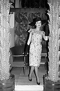 "12/02/1963<br /> 02/12/1963<br /> 12 February 1963<br /> Irene Gilbert Fashion show at the Gresham Hotel, Dublin. Picture shows ""Blissful"" white/black crepe chiffon cocktail dress."