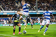 QPR (12) Jamie Mackie, QPR (40) Idrissa Sylla during the EFL Sky Bet Championship match between Queens Park Rangers and Fulham at the Loftus Road Stadium, London, England on 29 September 2017. Photo by Sebastian Frej.