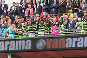 Forest Green Rovers Kaiyne Woolery(14) lifts the trophy during the Vanarama National League Play Off Final match between Tranmere Rovers and Forest Green Rovers at Wembley Stadium, London, England on 14 May 2017. Photo by Shane Healey.