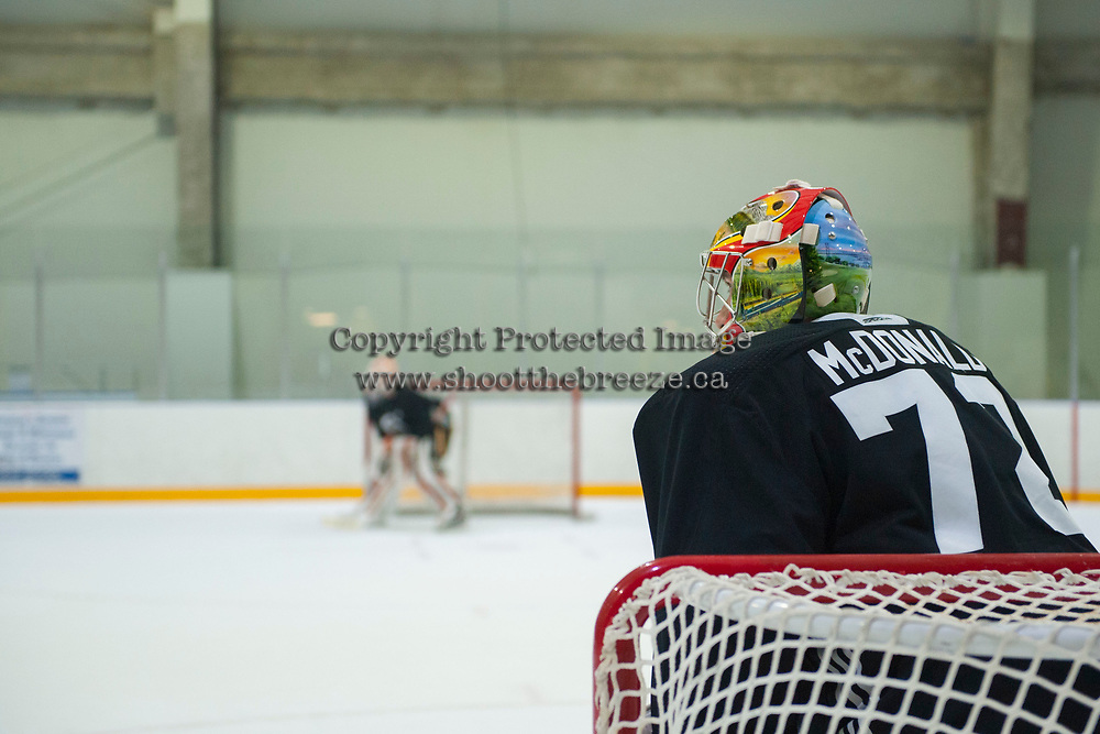 PENTICTON, CANADA - SEPTEMBER 9: Mason McDonald #72 of Calgary Flames stands in net during morning skate on September 9, 2017 at the South Okanagan Event Centre in Penticton, British Columbia, Canada.  (Photo by Marissa Baecker/Shoot the Breeze)  *** Local Caption ***
