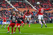 ALKMAAR - 06-03-2016, AZ - Excelsior, AFAS Stadion, 2-0, AZ speler Thom Haye kopt de bal, AZ speler Dabney dos Santos Souza, Excelsior speler Daan Bovenberg.