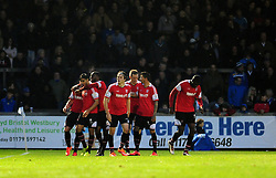 Kidderminster Harriers's Nathan Blissett goal is celebrated - Photo mandatory by-line: Neil Brookman/JMP - Mobile: 07966 386802 - 15/11/2014 - SPORT - Football - Bristol - Memorial Stadium - Bristol Rovers v Kidderminster - Vanarama Football Conference