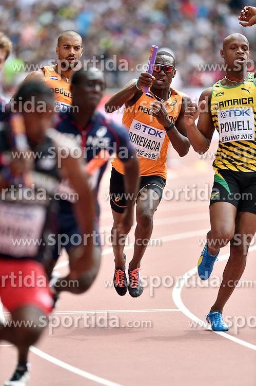 29-08-2015 CHN: IAAF World Championships Athletics day 7, Beijing<br /> Patrick van Luijk (NED),  Liemarvin Bonevacia (NED) and Asafa Powell (JAM). Photo by Ronald Hoogendoorn / Sportida