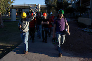On the campus of the Universidad Autónoma de Baja California, a group of researchers led by Dr. Benson Shing, Vice Chair of the Department of Structural Engineering at the University of California, San Diego, inspected the earthquake damage in Mexicali, Mexico, April 7, 2010. A 7.2 magnitude earthquake in Baja California on Easter Sunday was felt as far away as Los Angeles.