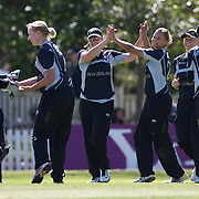 Suzie Bates is congratulated after another South African wicket during the South Africa  V New Zealand group A match at Bradman Oval in the ICC Women's World Cup Cricket Tournament, in Bowral, Australia on March 12, 2009. New Zealand won the match by 199 runs. Photo Tim Clayton