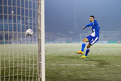 Liam Sercombe of Bristol Rovers scores his penalty in the shoot out against Leyton Orient - Mandatory by-line: Robbie Stephenson/JMP - 04/12/2019 - FOOTBALL - Memorial Stadium - Bristol, England - Bristol Rovers v Leyton Orient - Leasing.com Trophy