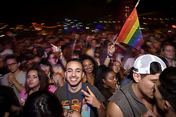 June 10, 2017 - West Hollywood, California, United States - People attend day 1 of LA Pride Music Festival on June 10, 2017 in West Hollywood, California. The two-day LGBTQ community celebration includes a music festival and the annual LA Pride Parade which this year is called Resist March. (Credit Image: © Ronen Tivony/NurPhoto via ZUMA Press)