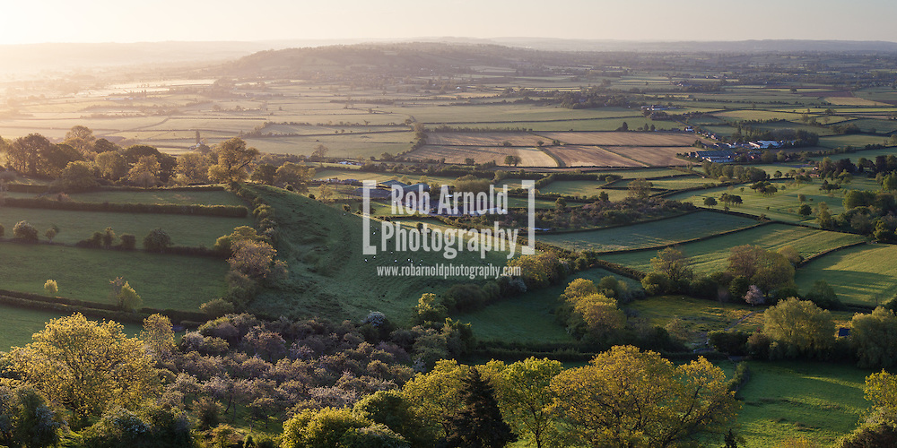 An early morning view across Somerset countryside from Glastonbury Tor