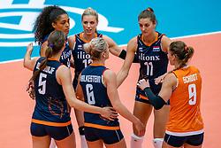 02-08-2019 ITA: FIVB Tokyo Volleyball Qualification 2019 / Belgium - Netherlands, Catania<br /> 1e match pool F in hall Pala Catania between Belgium - Netherlands. Netherlands win 3-0 / (L-R) Robin de Kruijf #5 of Netherlands, Celeste Plak #4 of Netherlands, Britt Bongaerts #12 of Netherlands, Maret Balkestein-Grothues #6 of Netherlands, Anne Buijs #11 of Netherlands, Myrthe Schoot #9 of Netherlands