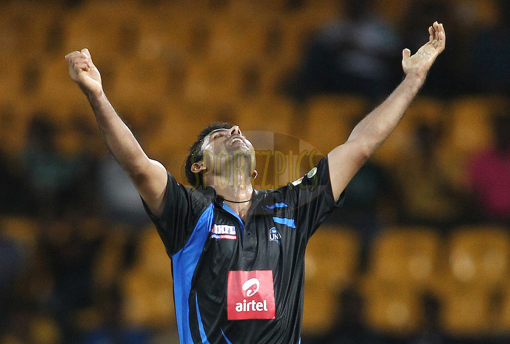 Abdul Razzaq of Wayamba United celebrates after bowling Mohammad Ashraful of Ruhuna Royals during match 20 of the Sri Lankan Premier League between Ruhuna Royals and Wayamba United held at the Premadasa Stadium in Colombo, Sri Lanka on the 26th August 2012. .Photo by Shaun Roy/SPORTZPICS/SLPL