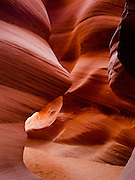 View of Lower Antelope Canyon, a slot canyon on Antelope Creek, just east of Page, Arizona on the Navajo Reservation.